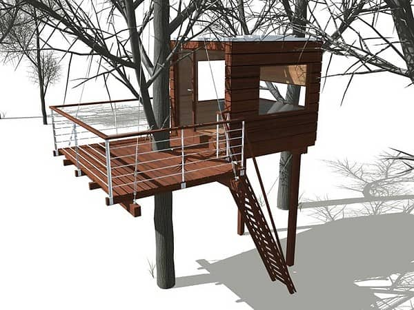 Module treehouse system the caravan and the small cube for Small tree house