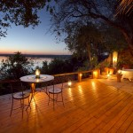 Luxury Tongabezi hotel at night in africa